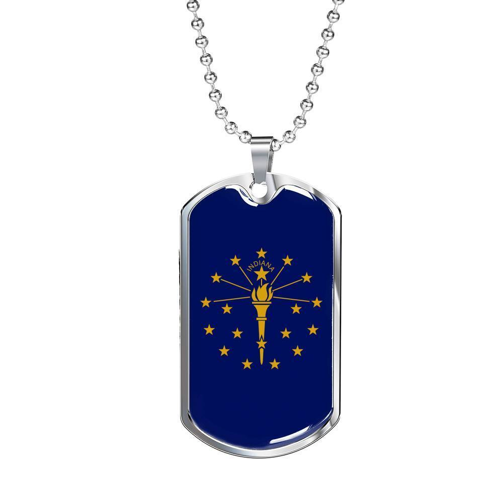 "Express Your Love Gifts Indiana Flag Handmade Pendant Stainless Steel or 18k Gold Military Dog Tag Necklace w 24"" Ball Chain Military Chain (Silver) / No"