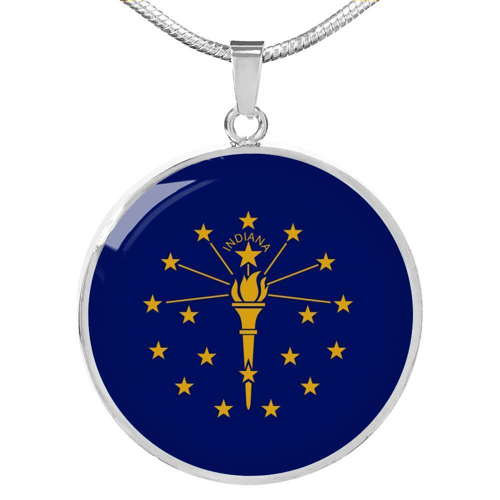 "Express Your Love Gifts Indiana State Flag Circle Pendant Stainless Steel or 18k Gold Finish Necklace Adjustable 18""-22"" Luxury Necklace (Silver) / No"