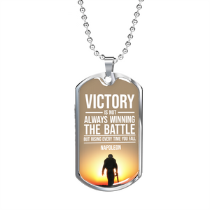 Express Your Love Gifts Inspirational Victory Soldier Message Dog Tag Necklace