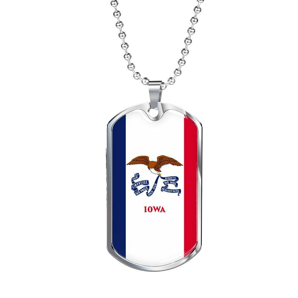 "Express Your Love Gifts Iowa Flag Handmade Pendant Stainless Steel or 18k Gold Military Dog Tag Necklace w 24"" Ball Chain Military Chain (Silver) / No"