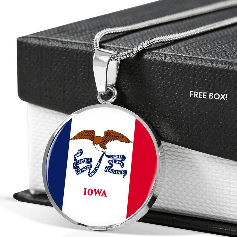 "Express Your Love Gifts Iowa State Flag Circle Pendant Stainless Steel or 18k Gold Finish Necklace Adjustable 18""-22"" Luxury Necklace (Silver) / No"