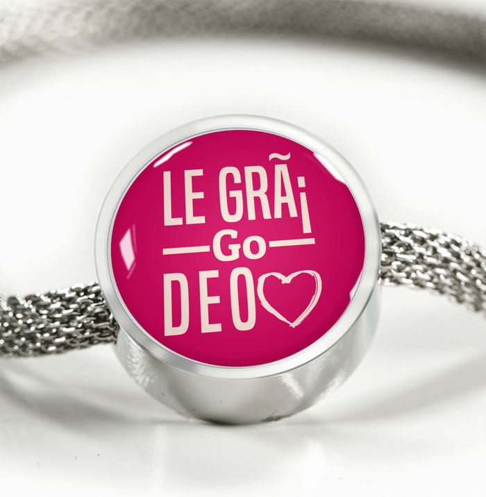 Irish Love Message Le Grá Go Deo (Forever with Love) Handmade Stainless Steel Circle Charm Bracelet
