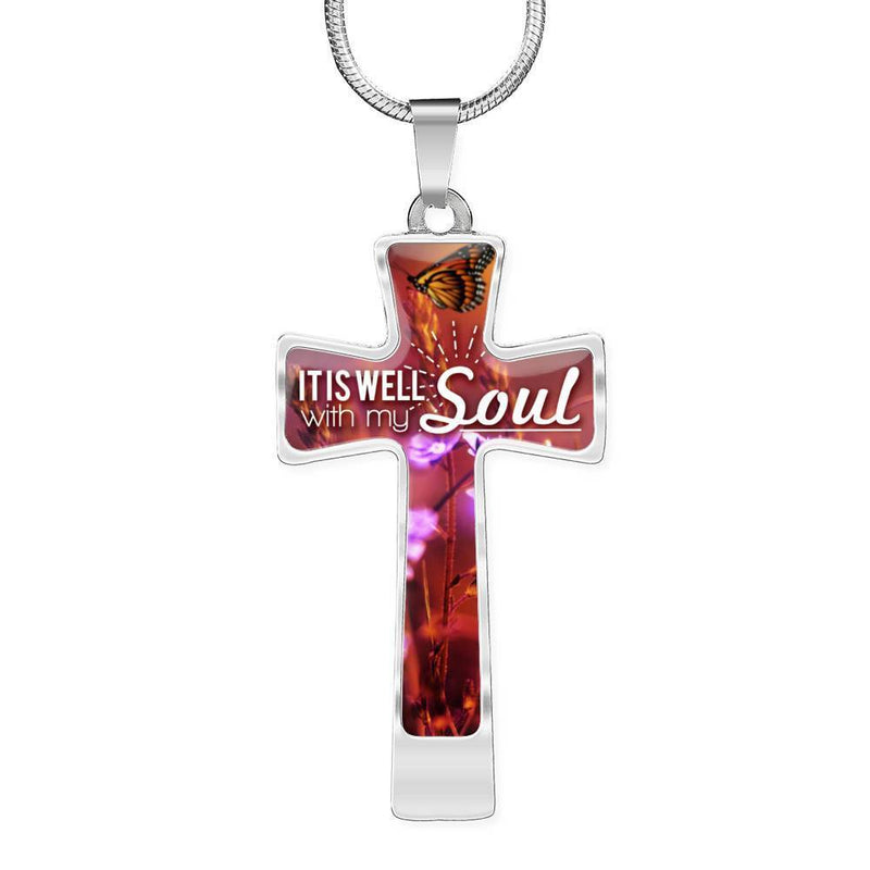 Express Your Love Gifts It Is Well With My Soul Bible Verse Cross Pendant Necklace