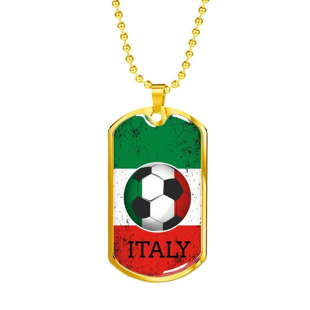 Express Your Love Gifts Italy Flag and Soccer Dog Tag Pendant Necklace