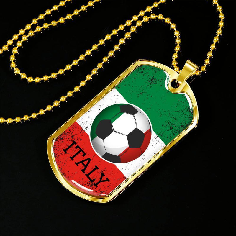 "Italy Flag and Soccer Necklace Stainless Steel or 18k Gold Dog Tag w 24"" Chain - Express Your Love Gifts"