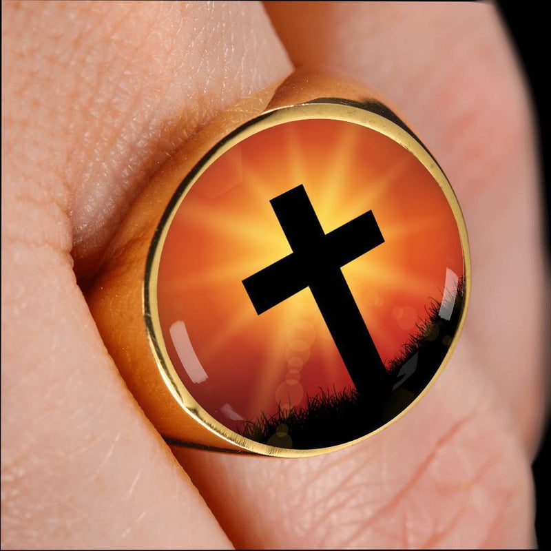 Express Your Love Gifts Jesus Died For You Cross 18k Gold Finish Signet Ring w Free Luxury Gift Box Size 4