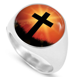 Express Your Love Gifts Jesus Died For You Cross Stainless Steel-Silver Tone Signet Ring w Free Luxury Gift Box Size 4