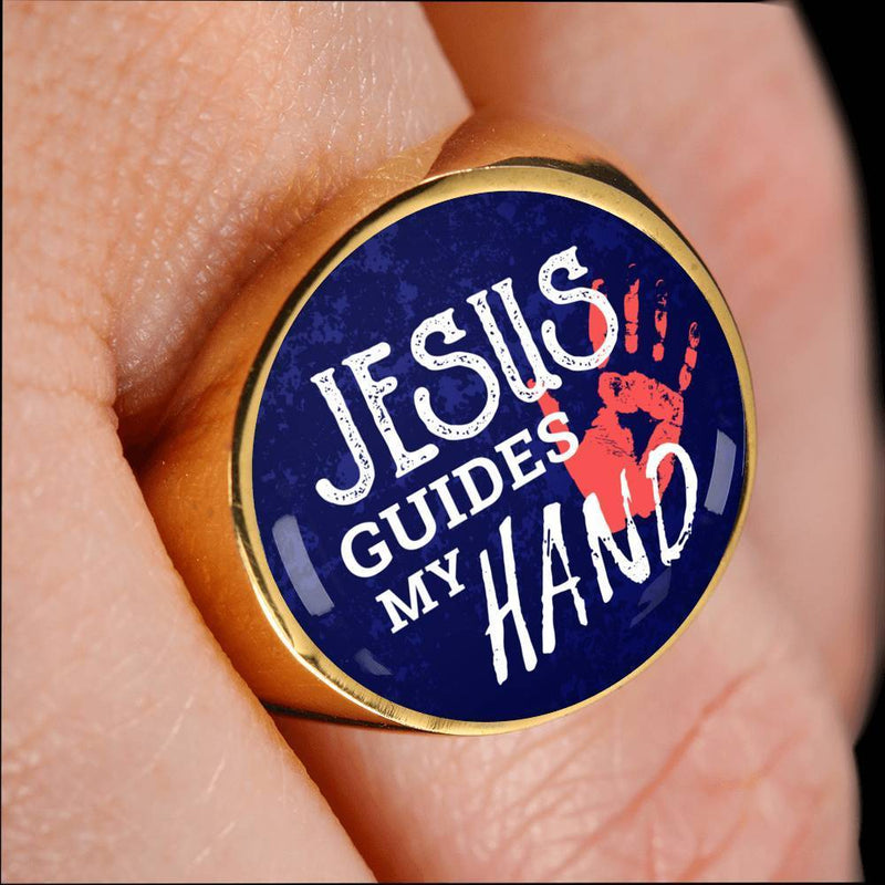 Express Your Love Gifts Jesus Guides My Hand 18k Gold Finish Signet Ring w Free Luxury Gift Box Size 4