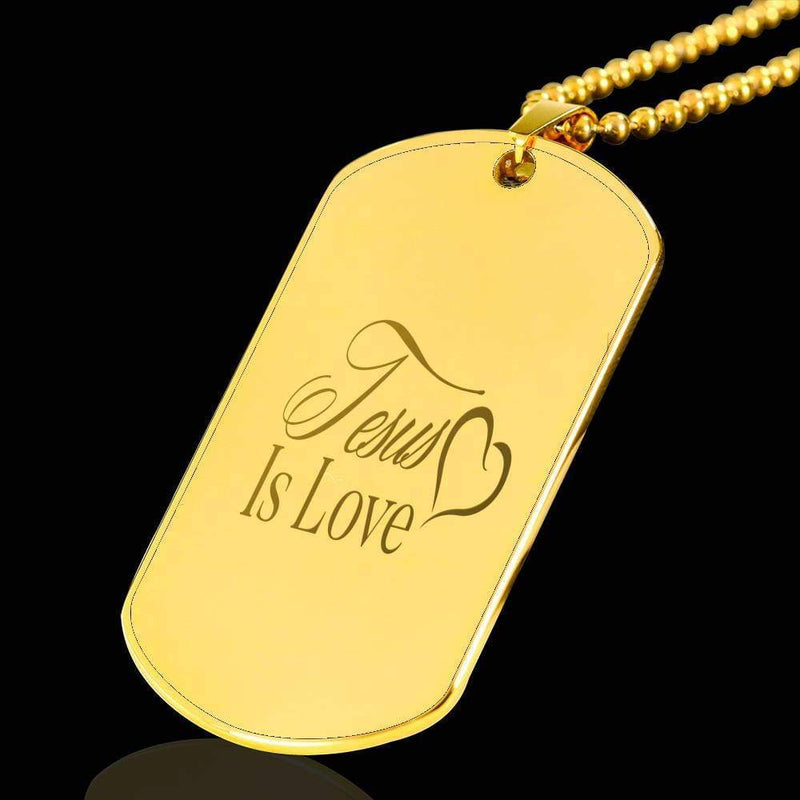"Jesus Is Love Bible Verse Necklace 18k Gold Stainless Steel Dog Tag 24"" w Ball Chain Express Your Love Gifts"
