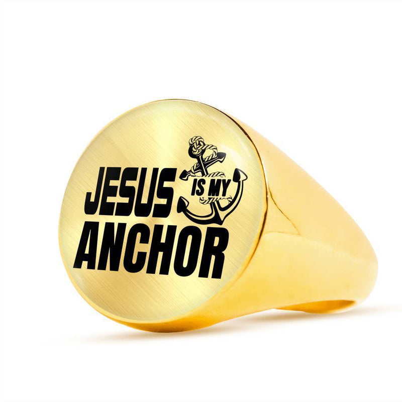 Jesus is my Anchor Scripture Ring Stainless Steel or 18k Gold Bible Jewelry - Express Your Love Gifts