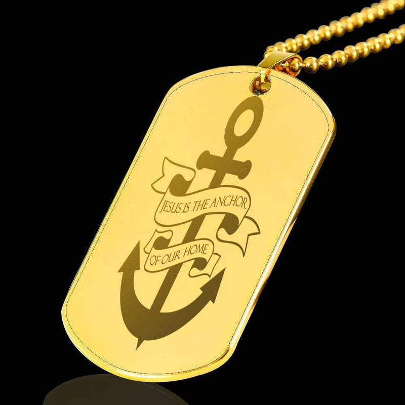 "Jesus is the Anchor of Our Home Bible Verse Necklace 18k Gold Stainless Steel Dog Tag 24"" w Ball Chain Express Your Love Gifts"