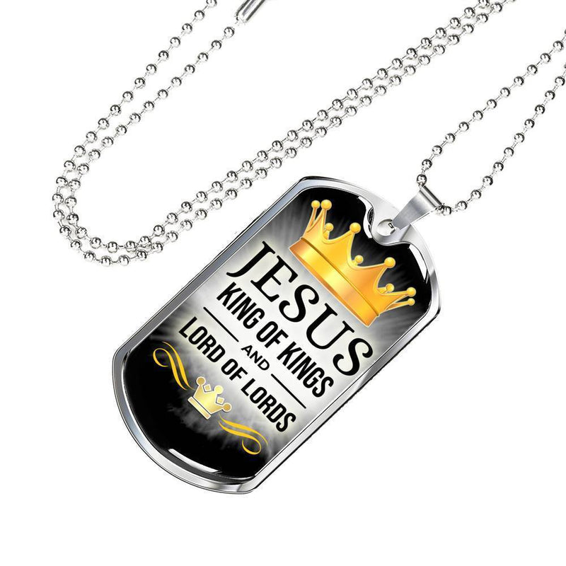 "Jesus King Of Kings Christian Bible Verse Necklace Stainless Steel or 18k Gold Dog Tag w 24"" Chain - Express Your Love Gifts"