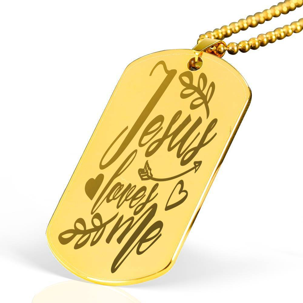 "Jesus Loves Me Bible Verse Necklace 18k Gold Stainless Steel Dog Tag 24"" w Ball Chain Express Your Love Gifts"