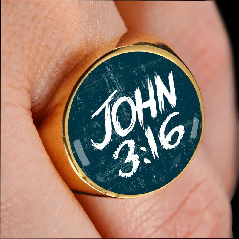 Express Your Love Gifts John 3:16 Bible Verse Circle 18k Gold Finish Signet Ring w Free Luxury Gift Box Size 4