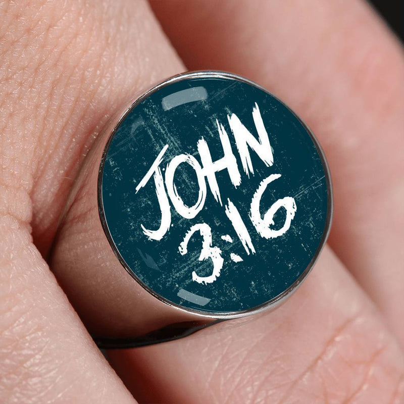 Express Your Love Gifts John 3:16 Bible Verse  Stainless Steel Circle Signet Ring Size 4