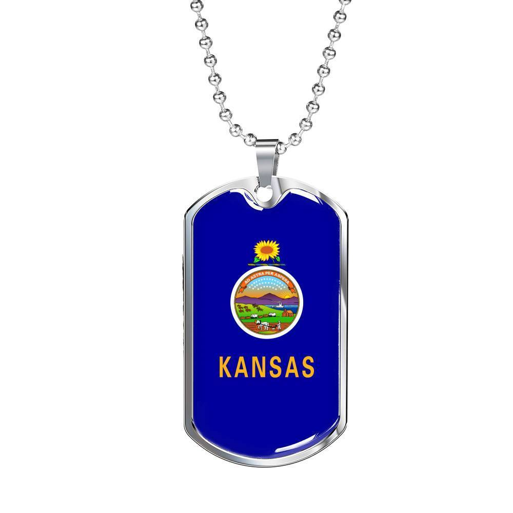 "Express Your Love Gifts Kansas Flag Handmade Pendant Stainless Steel or 18k Gold Military Dog Tag Necklace w 24"" Ball Chain Military Chain (Silver) / No"