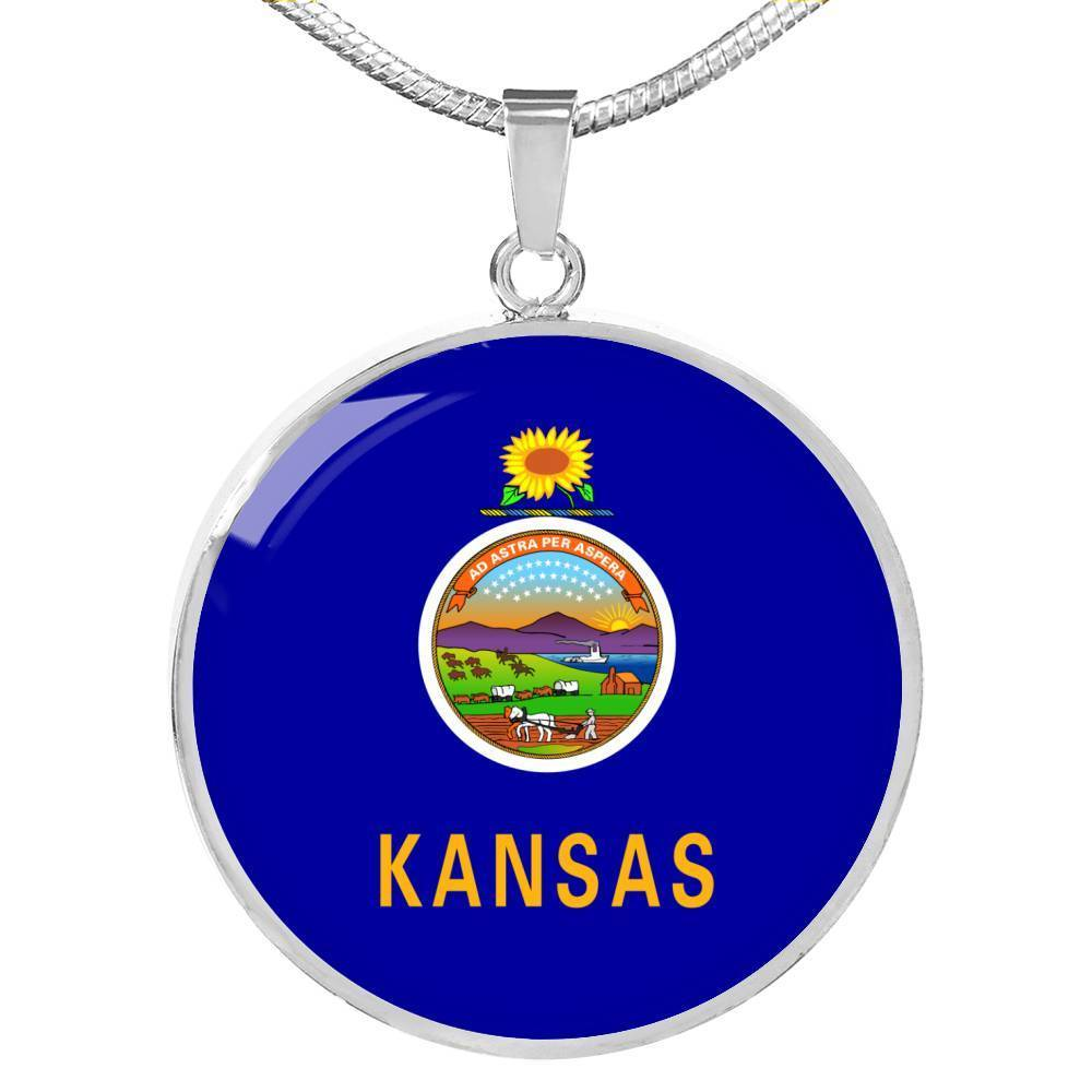 "Express Your Love Gifts Kansas State Flag Circle Pendant Stainless Steel or 18k Gold Finish Necklace Adjustable 18""-22"" Luxury Necklace (Silver) / No"