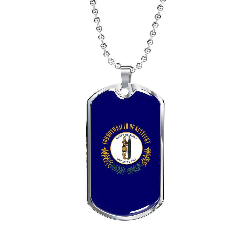 "Express Your Love Gifts Kentucky Flag Handmade Pendant Stainless Steel or 18k Gold Military Dog Tag Necklace w 24"" Ball Chain Military Chain (Silver) / No"