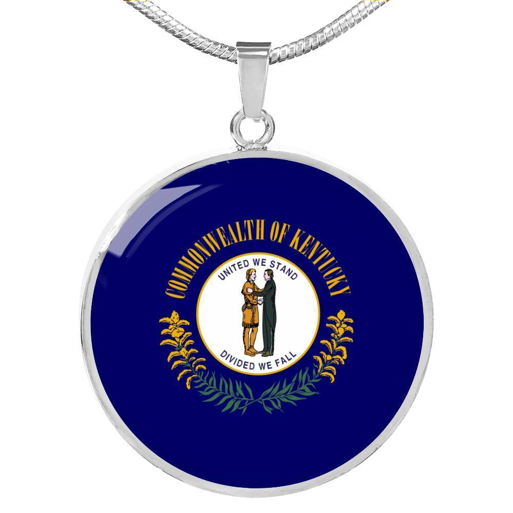 "Express Your Love Gifts Kentucky State Flag Circle Pendant Stainless Steel or 18k Gold Finish Necklace Adjustable 18""-22"" Luxury Necklace (Silver) / No"