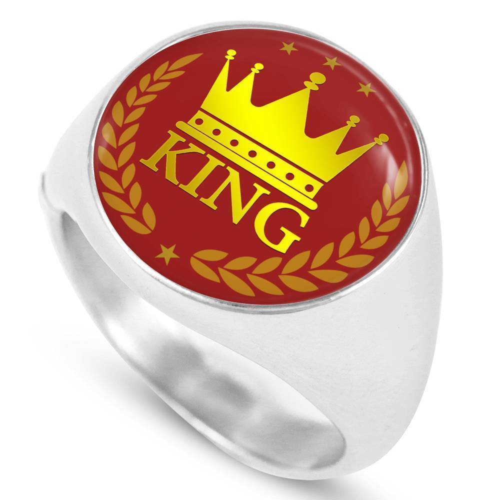 Express Your Love Gifts King Circle Stainless Steel-Silver Tone Signet Ring w Free Luxury Gift Box Size 4