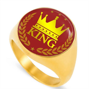 Express Your Love Gifts King Transparent 18k Gold Finish Circle Signet Ring w Free Luxury Gift Box Size 4