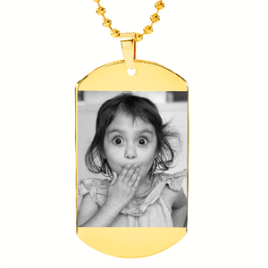 "Laser Etched Photo Necklace Military Dog Tag w 24"" Ball Chain includes Engraving Express Your Love Gifts"