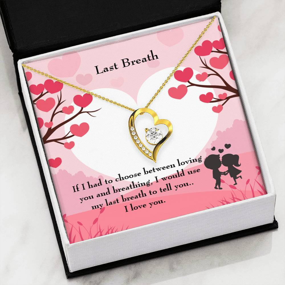 "Last Breath CZ Love Heart Pendant 18k Gold or Stainless Steel 18"" Necklace - Express Your Love Gifts"