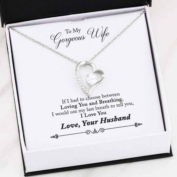 "To My Gorgeous Wife Forever Pendant 18k Gold Finish or Stainless Steel 18"" Necklace"