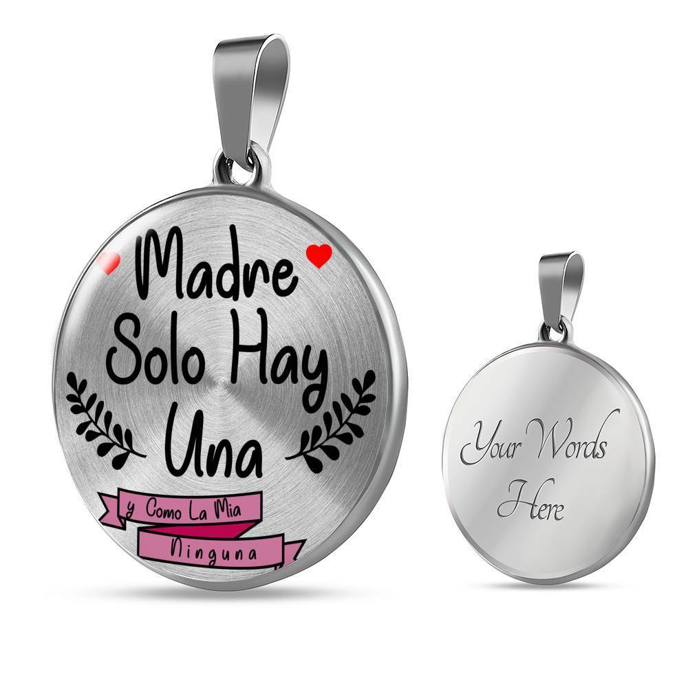 "Express Your Love Gifts Latina Spanish Gift for Mom Circle Pendant Necklace Stainless Steel or 18k Gold Finish Adjustable 18""-22"" Luxury Necklace (Silver) / Yes"