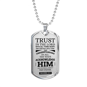 Express Your Love Gifts Let God Direct Your Path Christian Faith Jewelry Dog Tag Pendant Necklace Military Chain (Silver) / No