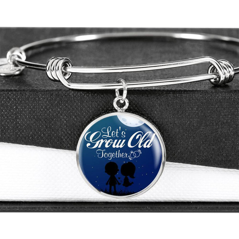 Express Your Love Gifts Let's Grow Old Together Circle Pendant Bangle