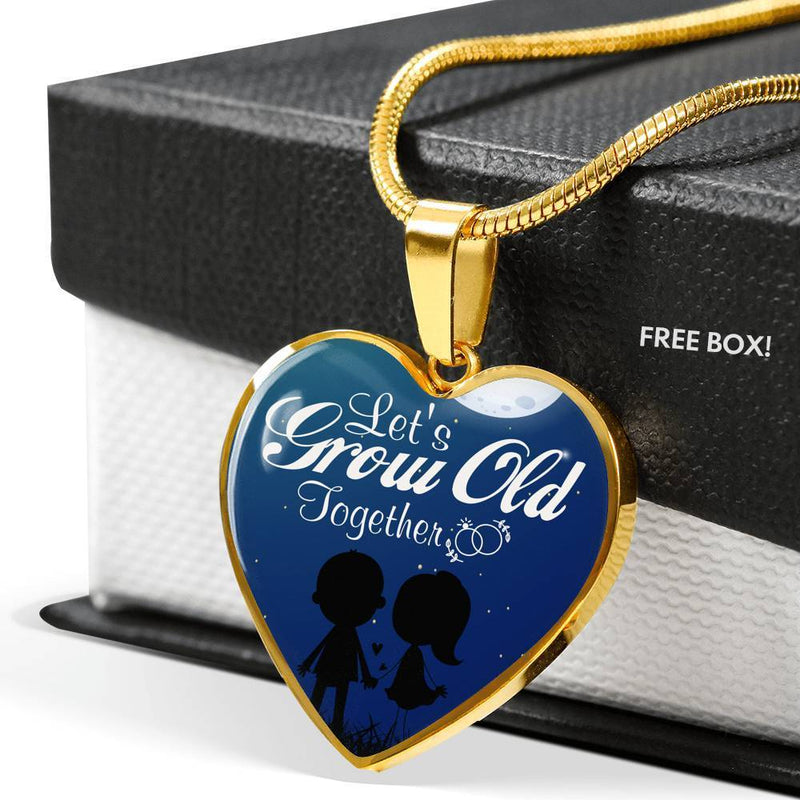 Express Your Love Gifts Let's Grow Old Together Heart Pendant Necklace Luxury Necklace (Gold) / No