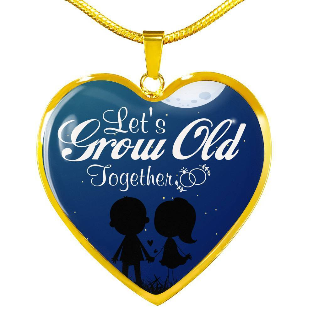 "Let's Grow Old Together Stainless Steel Or 18k Gold Heart Pendant Necklace 18""-22"" - Express Your Love Gifts"
