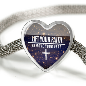 Express Your Love Gifts Lift Your Faith Remove Your Fear Christian Faith Jewelry Heart Charm Bracelet S/M Bracelet & Charm / No