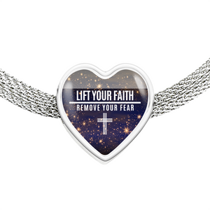 Express Your Love Gifts Lift Your Faith Remove Your Fear Christian Faith Jewelry Heart Charm Bracelet