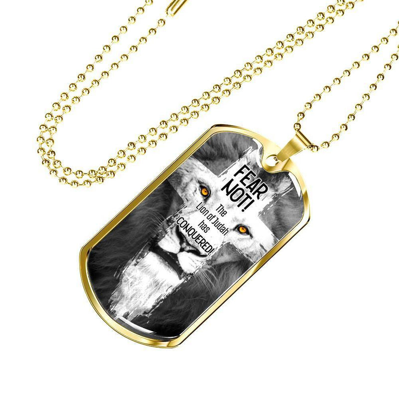 "Lion Of Judah Bible Verse Necklace Stainless Steel or 18k Gold Dog Tag w 24"" Chain - Express Your Love Gifts"
