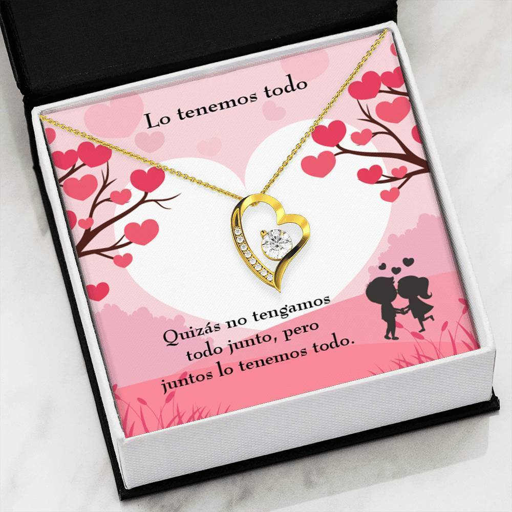 "Lo Tenemos Todo CZ Love Heart Pendant 18k Gold or Stainless Steel 18"" Necklace - Express Your Love Gifts"