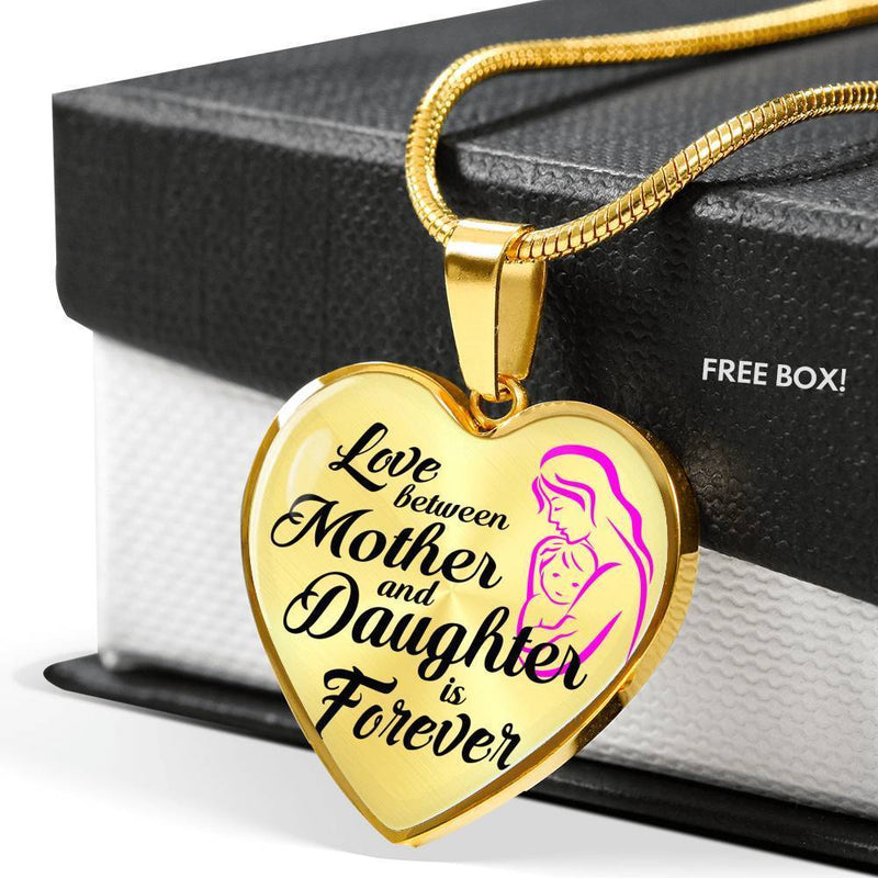 "Mom Love MessageMother and Daughter Forever Necklace Stainless Steel or 18k Gold Heart Pendant 18""22"" - Express Your Love Gifts"