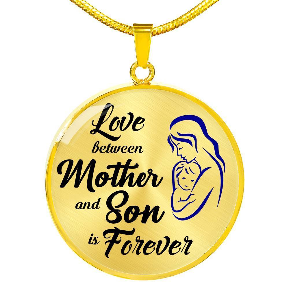 Express Your Love Gifts Love Between Mother and Son is Forever Circle Necklace Pendant Luxury Necklace (Gold) / No