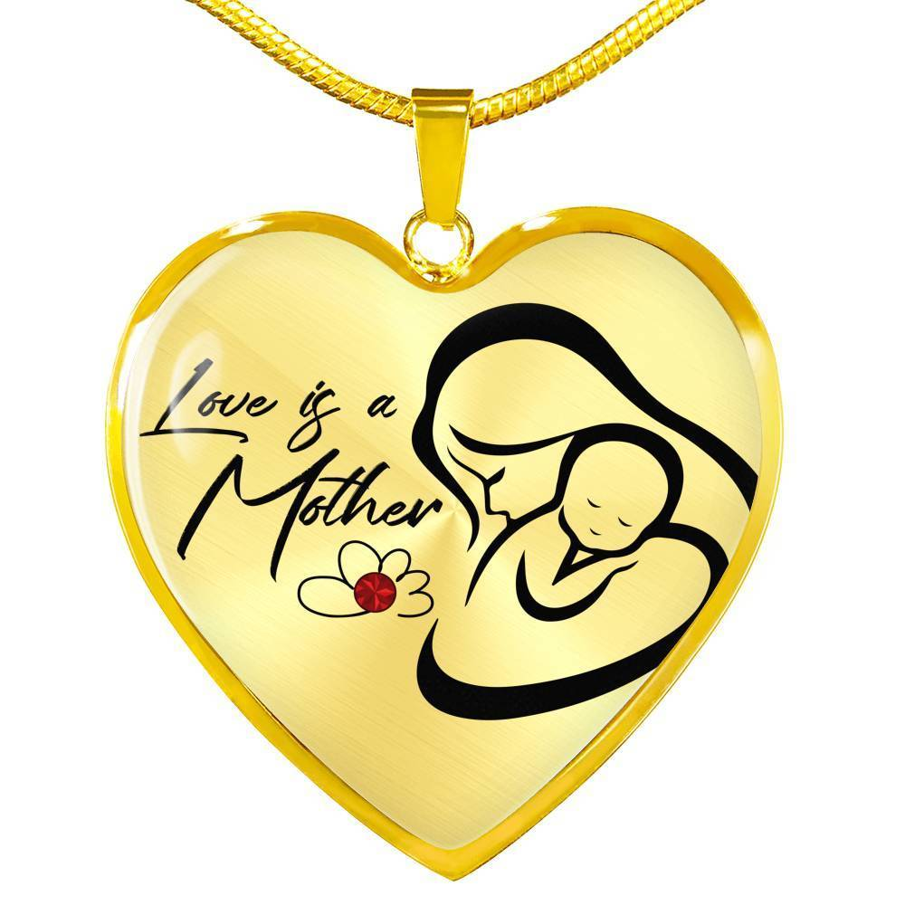 "Mom Love Message Love is a Mother Necklace Stainless Steel or 18k Gold Heart Pendant 18""22"" - Express Your Love Gifts"