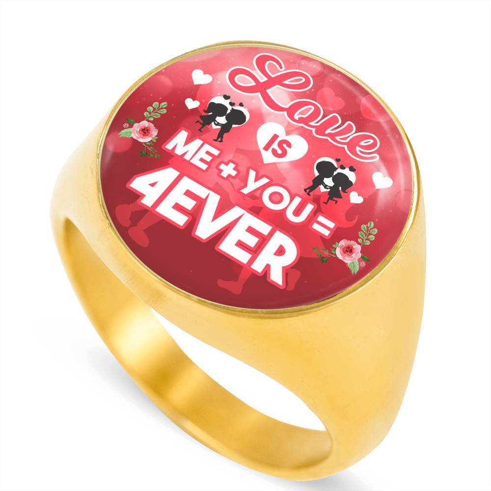 Express Your Love Gifts Love is Me Plus You Equals Forever 18k Gold Finish Circle Signet Ring w Free Luxury Gift Box Size 4