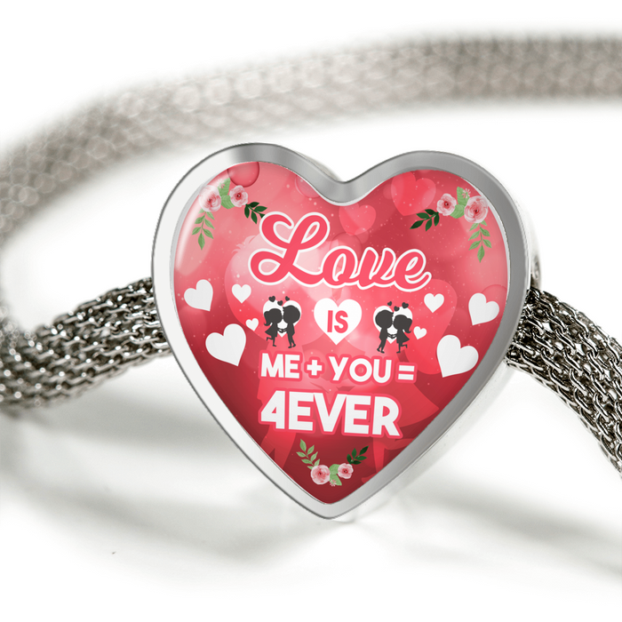 Love is Me Plus You Equals Forever Handmade Stainless Steel Heart Charm Bracelet