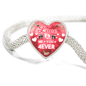 Express Your Love Gifts Love is Me Plus You Equals Forever Handmade Stainless Steel Heart Charm Bracelet M/L Bracelet & Charm