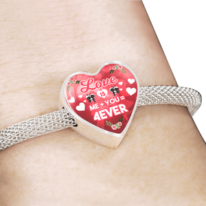 Express Your Love Gifts Love is Me Plus You Equals Forever Handmade Stainless Steel Heart Charm Bracelet