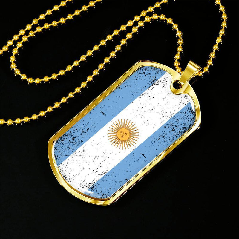"Express Your Love Gifts Love My Country Argentina Flag Pendant Stainless Steel or 18k Gold Military Dog Tag Necklace w 24"" Ball Chain Military Chain (Gold) / No"