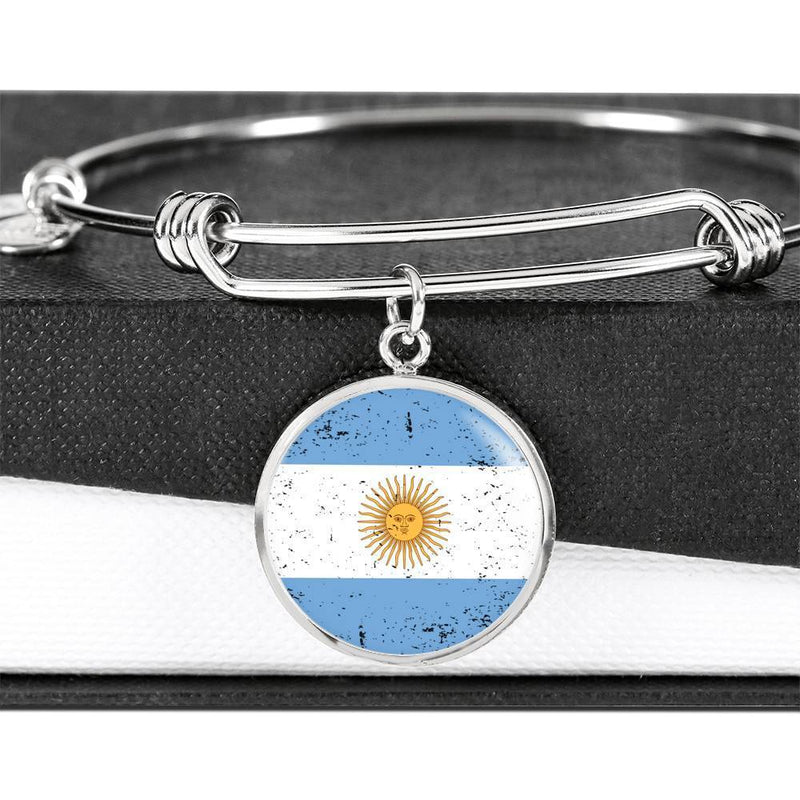 Express Your Love Gifts Love My Country Argentina Flag Stainless Steel Circle Charm Bracelet