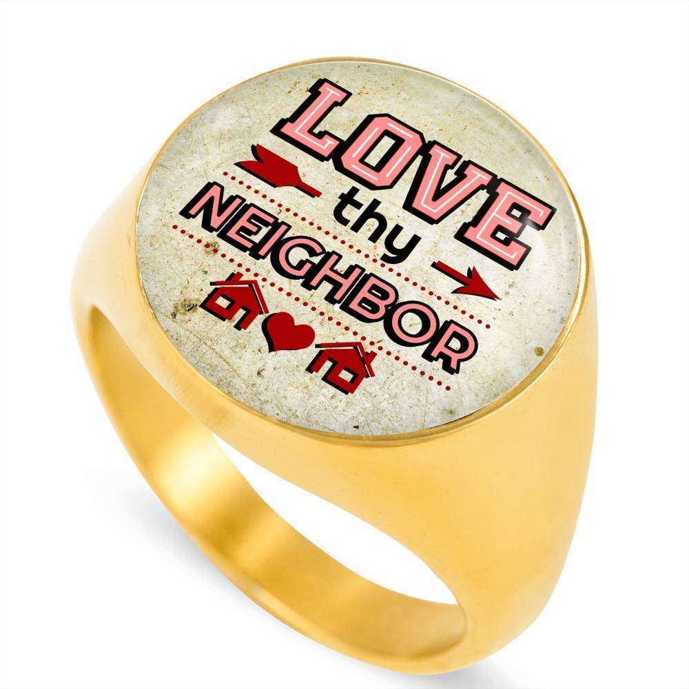 Express Your Love Gifts Love Thy Neighbor 18k Gold Finish Bible Verse Circle Signet Ring w Free Luxury Gift Box Size 4