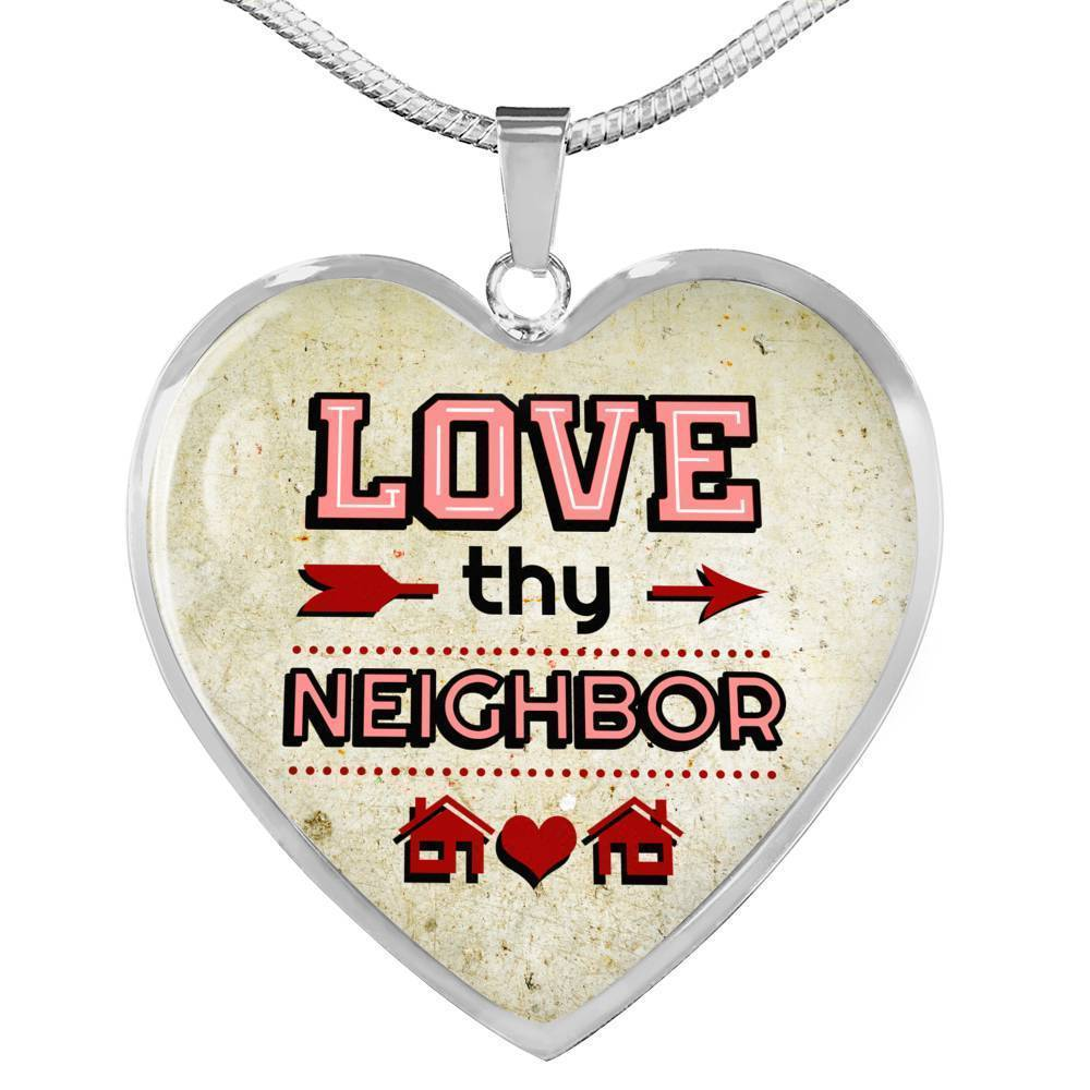 Express Your Love Gifts Love Thy Neighbor Heart Pendant Necklace