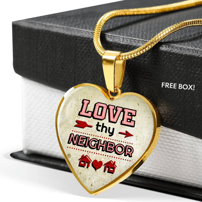 "Love Thy Neighbor Heart Pendant Necklace Stainless Steel Or 18k Gold Heart Pendant Necklace 18""-22"" - Express Your Love Gifts"