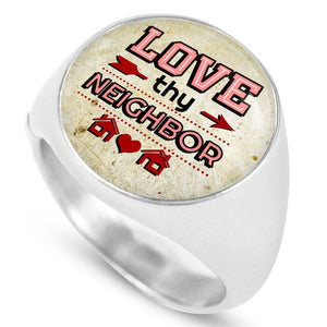 Express Your Love Gifts Love Thy Neighbor Stainless Steel-Silver Tone Bible Verse Circle Signet Ring w Free Luxury Gift Box Size 4